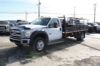 2011 Ford F-550 XLT 4x4, 14 Ft Flat Deck, LOW KM, 6.7L DIESEL !!