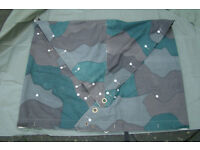 Vintage - Swedish Army - Canvas Zeltbahn Camo Tarp / Poncho