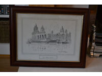 River Mersey Liverpool Framed drawing by David Hawker (Taking Offers)