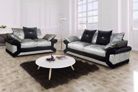 GET IT NOW- New Dino 3 + 2 Seater Set Sofa Crushed Velvet Luxury Black-Silver OR Brown-Mink