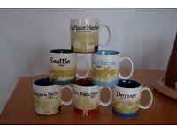 6 Starbucks mugs - Pike Place Market, Seattle, California, Niagara falls, San Francisco, Denver