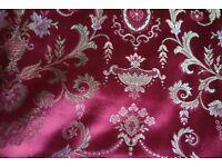 Vintage 1950s dark pink flower brocade curtains 125cm wide and 179cm long