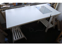 Artist's Tiltable/Adjustable Drawing Desk with Inbuilt Lightbox