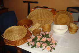 SELECTION OF WICKER SANDWICH AND NIBBLE BASKETS,IDEAL FOR PARTY NIGHTS & BBQ's