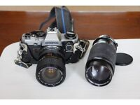 Olympus OM10 35mm. Camera with Manual Adapter and 3 lenses