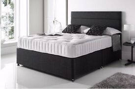CRAZY PRICE // NEW BLACK DOUBLE DIVAN BED + 10 INCH THICK ORTHOPEDIC MATTRESS & FAST DELIVERY