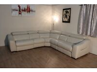 Elixir cream leather electric recliner corner sofa with Ipod docking station and cup holder unit