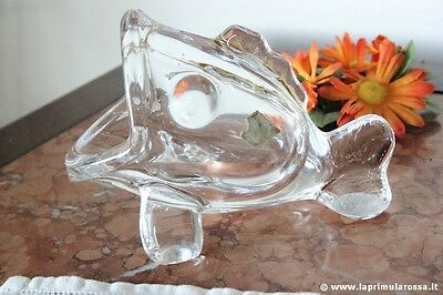 PESCE ANNI 70 IN CRISTALLO H 10 VINTAGE ART VANNES CRYSTAL FISH MADE IN FRANCE