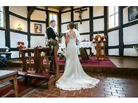 Ivory/white lace wedding dress sheath silluette