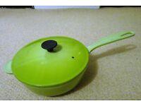 Le Creuset 21cm cast iron lidded saute pan. Lime green colour. New but unboxed.