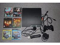 PS3 + Move controller + eye toy camera + 6 games