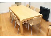 Light wood dining table and 8 chairs. And small side table. £200 ono. Sturdy and easy to clean.