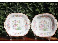 Pair of Rare pre 1820 Antique Davenport Display Plates Georgian Victorian Vintage Unusual