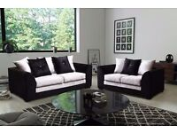 BRAND NEW BLACK /BLACK AND SILVER CRUSHED VELVET 3+2 SEATER sofa set