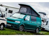 Unique green VW Transporter T5 campervan, '07 plate professionally converted