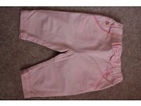 Ted Baker, baby girl pink trousers, 0-3mths
