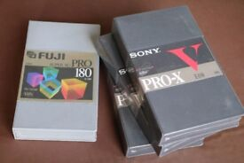VHS cassettes: E-180's Sony and Fugi, still wrapped.