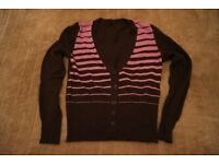 Purple & Burgundy Striped United Colours of Benetton Cardigan