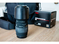 Sigma 70-300mm f/4-5.6 zoom camera lens w/ lens hood for Canon EF-S mount - excellent condition!