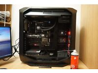Corsair Graphite Series Windowed Full Tower ATX Gaming Case with LED Fan - Black/Red