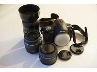 Set of Three Camera Lenses for Sony Alpha: Sony 1.8/50, Sony 3.5-5.6/18-55, Minolta 4.5-5.6/70-210