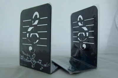 Music Themed Bookend - A Pair of Black Treble Clef Design Metal Book Stand - Black Books Theme Music