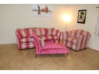 Burlington hot pink stripe fabric 3 seater grand sofa, snuggler chair and chaise