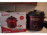 used, excellent condition Hanabishi Slow Cooker 4.5 litre capacity (needs international adaptor)