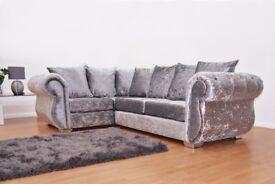 Chesterfield Left Hand Corner Sofa Crushed Velvet Sofa -Fast & Free 2 Man delivery