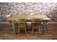 Solid Hardwood Chunky Slab Farmhouse Dining Table Set - 6 Seater