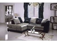 Italian Crush Velvet -- CLASSIC OFFER -- Byron Corner Sofa / 3 + 2 Seater Sofa -- Same Day Delivery