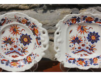 Unusual Antique Matching Plate and Platter Georgian 19th Century Victorian Rare