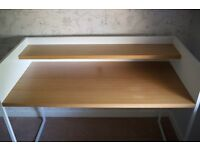 Achica white and oak laminate computer desk