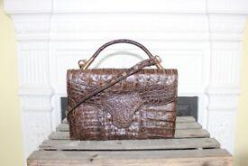 Vintage 1960s Croc Skin Bag Handbag Shoulder Bag Crocodile Leather Retro Brown