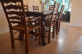 Dark Wood Dining Table & Chairs