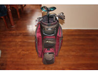 USED GOLF CLUBS AND BAG - Titleist DTR Irons 3-SW + Seal SL200 3wood & 5wood + 60° Lob Wedge & Bag