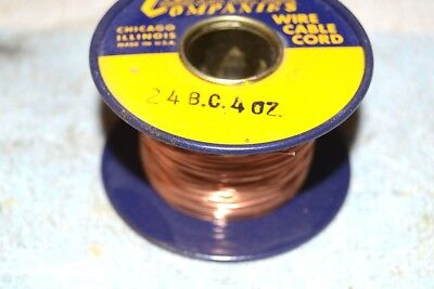 CONSOLIDATED WIRE CO NEW NOS 24BC BARE COPPER BUS BUSS AWG 24 SPOOL 4 oz (1/4lb)