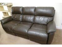 Leather 3 piece suite with power recliners