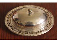 Marples & Co Antique Silver Plated Butter Dish w Lid Greek Design 7913 Sheffield