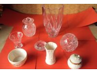 5 Piece's Irish crystal & 3 Pieces Belleek pottery