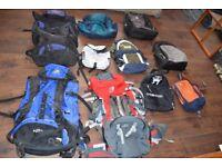 Assortment of Backpacks and rucksacks