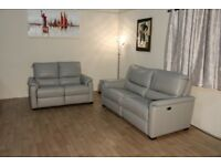 Ex-display HTL grey leather electric recliner 3+2 seater sofas