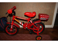 Firechief Halfords Bicycle with stabilisers
