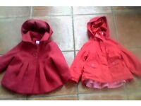Girl's 12-18 mths Red coats x2