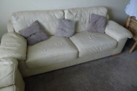 3Seater Sofa and &2 Seater Sofa Cream Leather good condition