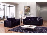 """Luxury Dylan crushed Velvet 3+2/ Corner sofa in silver and Black color! """"EXPRESS DELIVERY"""""""
