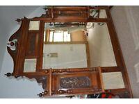 Antique Victoria Overmantle Mirror