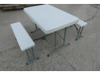 ROYAL FOLDING PORTABLE WHITE PICNIC SET OF TABLE & BENCHES > MODEL 355419