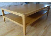 Heals Solid Oak Coffee Table. Large. 140cm x 80cm.