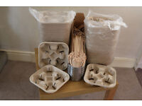 140 Disposable Takeaway 4x Cup Carry Trays & 1600 woodern stirrers for coffee shop take away to go